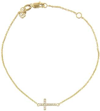 Sydney Evan Mini Diamond Cross Bracelet - Yellow Gold