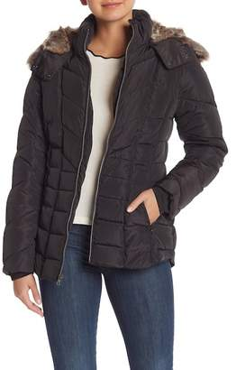 Nautica Faux Fur Hooded Short Puffer Jacket