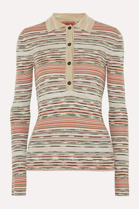 Missoni Striped Ribbed Crochet-knit Wool Sweater - Light green