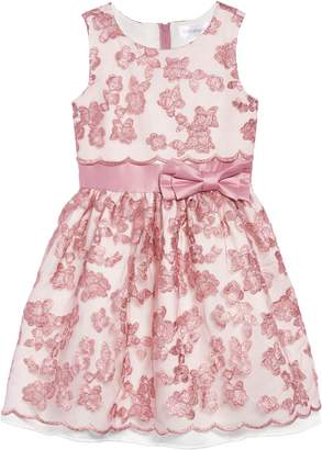 Little Angels Embroidered Mesh & Satin Dress