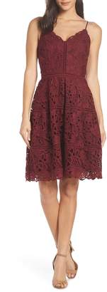 Adelyn Rae Jenny Lace Fit & Flare Dress