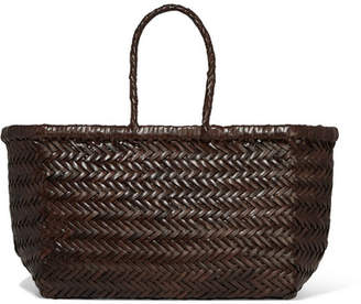 Dragon Optical Diffusion - Bamboo Triple Jump Small Woven Leather Tote - Dark brown
