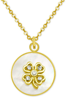 """Mother of Pearl Pixie Posey Gold-Tone Crystal Clover Mother-of-Pearl 18"""" Pendant Necklace"""