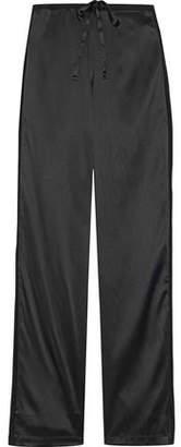 La Perla Chiffon-Trimmed Stretch Silk-Satin Pajama Pants