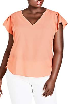 City Chic Flirty Shoulder Top