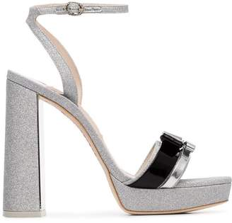 Sophia Webster silver Andie 125 glitter bow leather sandals