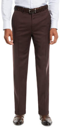 Brioni Men's Wool Straight-Leg Twill Trousers
