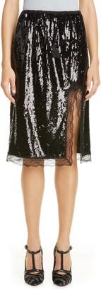 Michael Kors Collection Lace Trim Sequin Skirt