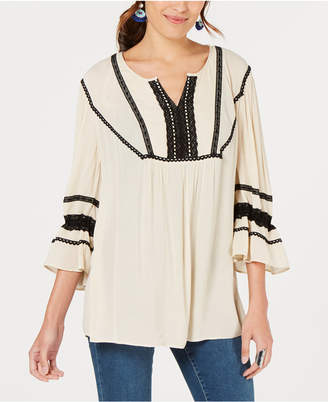 Style&Co. Style & Co Crochet-Trim Peasant Top, Created for Macy's