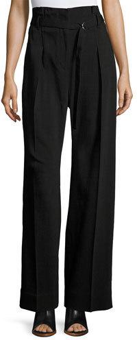 3.1 Phillip Lim3.1 Phillip Lim Paper Bag High-Waist Wide-Leg Pants, Black