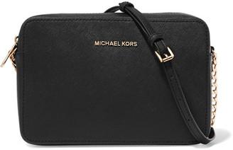 MICHAEL Michael Kors - Jet Set Travel Textured-leather Shoulder Bag - Black $148 thestylecure.com