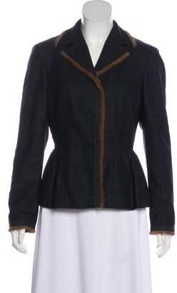 Alberta Ferretti Fur Trimmed Wool Jacket