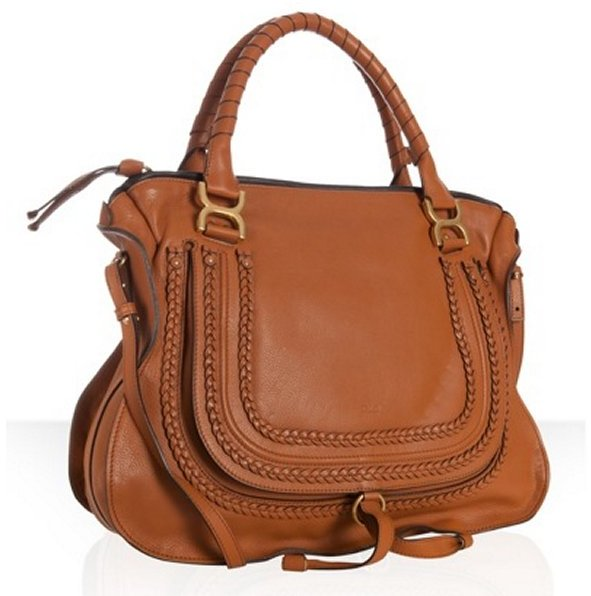 Chloe tan calfskin braided leather 'Marcie' large shoulder bag