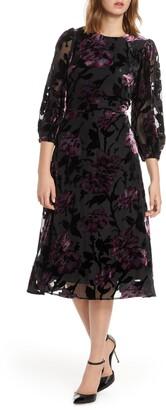 Eliza J Balloon Sleeve Chiffon Jacquard Dress