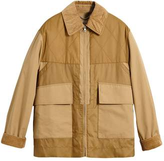 Burberry Quilted Panel Cotton Blend Jacket
