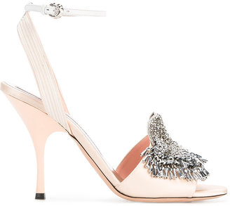Rochas Mid-Heel Satin Open-Toe Pumps with Crystal Embellishment $1,190 thestylecure.com