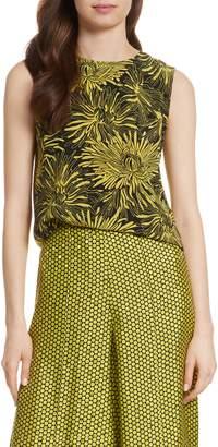 Diane von Furstenberg Floral Print Silk Shell
