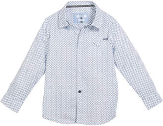 Mayoral Woven Tiny Star-Print Button-Down Top, Size 3-7