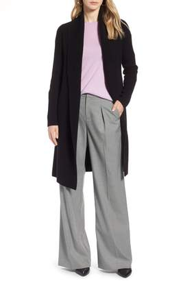 Halogen Long Ribbed Cashmere Cardigan