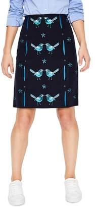 Boden Fun Bird Embroidery Stretch Cotton Skirt