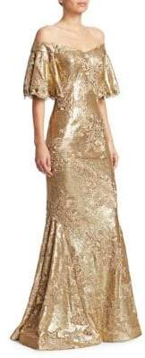 Teri Jon by Rickie Freeman Off-The-Shoulder Sequin Mermaid Gown