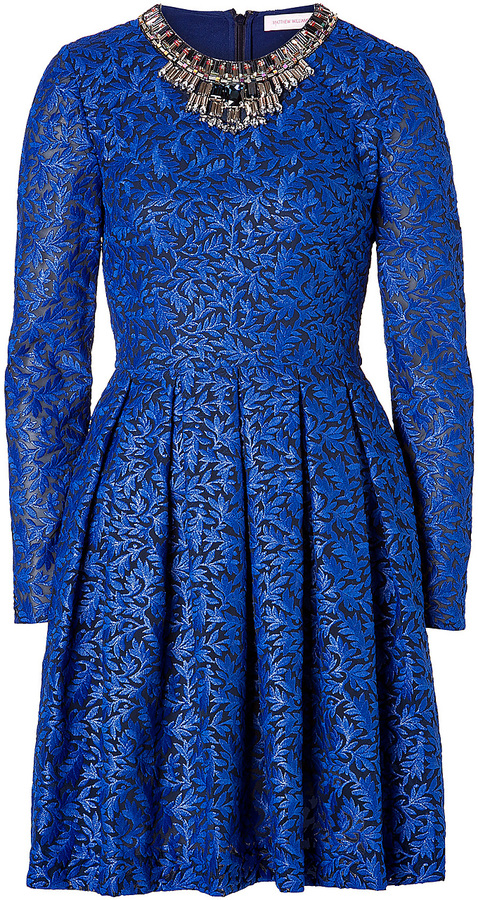 Matthew Williamson Brocade Embellished Collar Dress in Cobalt