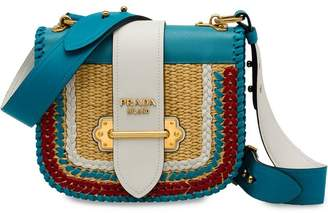 Prada Pionnière woven straw and calf leather bag