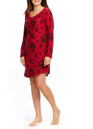 Gloria Vanderbilt Womens Plush Nightshirt Long Sleeve Scoop Neck