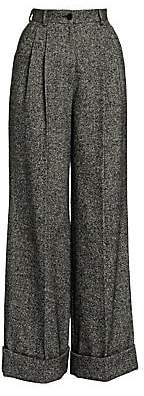 Dolce & Gabbana Women's Tweed Wide-Leg Cuffed Pants