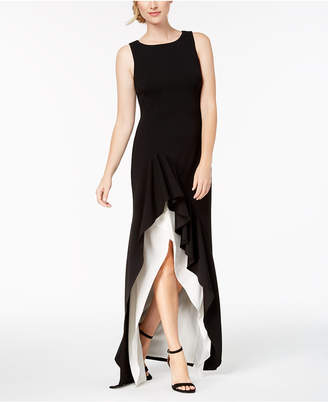 Calvin Klein Colorblocked High-Low Gown