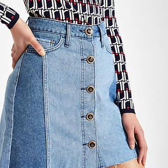 River Island Mid blue button front mini denim skirt