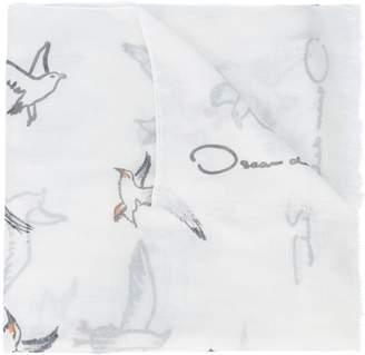 Oscar de la Renta seagull print scarf