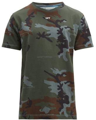 Off-White Off White Camouflage Logo Print Cotton T Shirt - Mens - Blue Multi