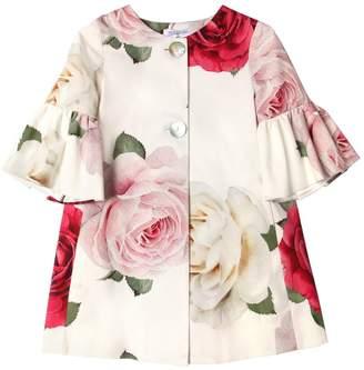 MonnaLisa Roses Print Cotton Ottoman Coat