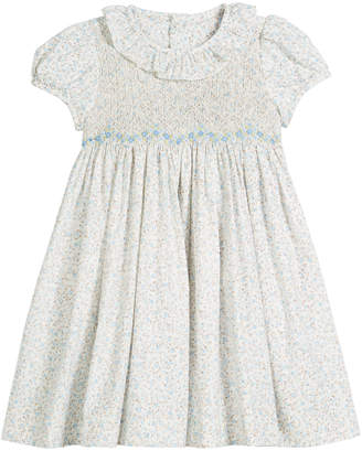 Luli & Me Ruffle-Collar Floral Smocked Dress, Size 2-4T