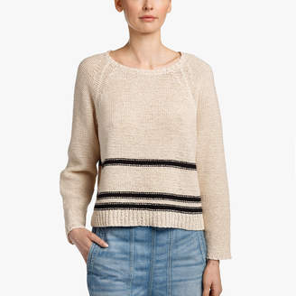 James Perse STRIPED COTTON LINEN RAGLAN CREW