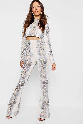 boohoo NEW Womens Knitted Snake Print Trouser Set in Polyester