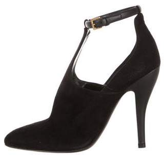 Gucci Suede Pointed-Toe Ankle Boots