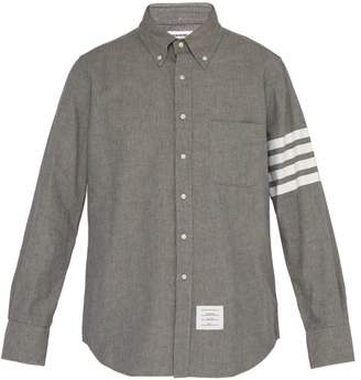Thom Browne Stripe Printed Cotton Chambray Shirt - Mens - Grey