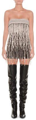 ATTICO Strapless Crystal-Beaded & Pearlescent Fringe Satin Mini Cocktail Dress