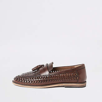 River Island Dark brown leather woven tassel loafers