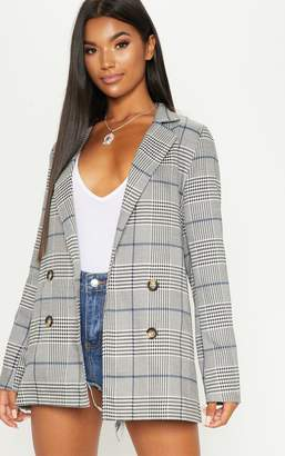 PrettyLittleThing Grey Checked Button Woven Blazer