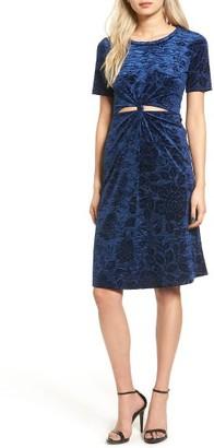 Women's Everly Floral Velvet Cutout Dress $55 thestylecure.com