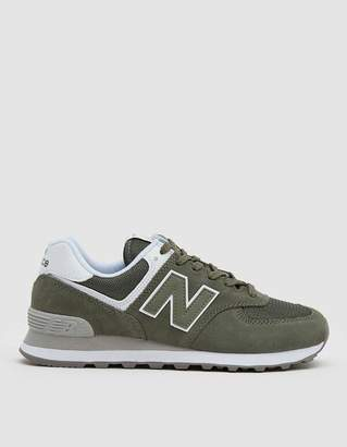New Balance 574 Suede Sneaker in Mineral Green / White