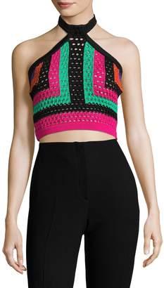 Balmain Women's Crochet Halter Neck Top