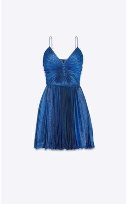 Saint Laurent Pleated Dress In Lame Silk