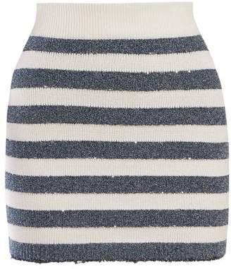 Balmain Striped Mini Skirt - Womens - Blue White