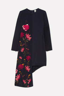Mother of Pearl Net Sustain And Bbc Earth Thea Asymmetric Floral-print Organic Silk Mini Dress - Navy