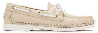 Christian Louboutin Steckel Stud Embellished Leather Deck Shoes - Mens - Beige