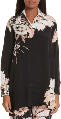 Etro Floral Print Silk Tunic Top